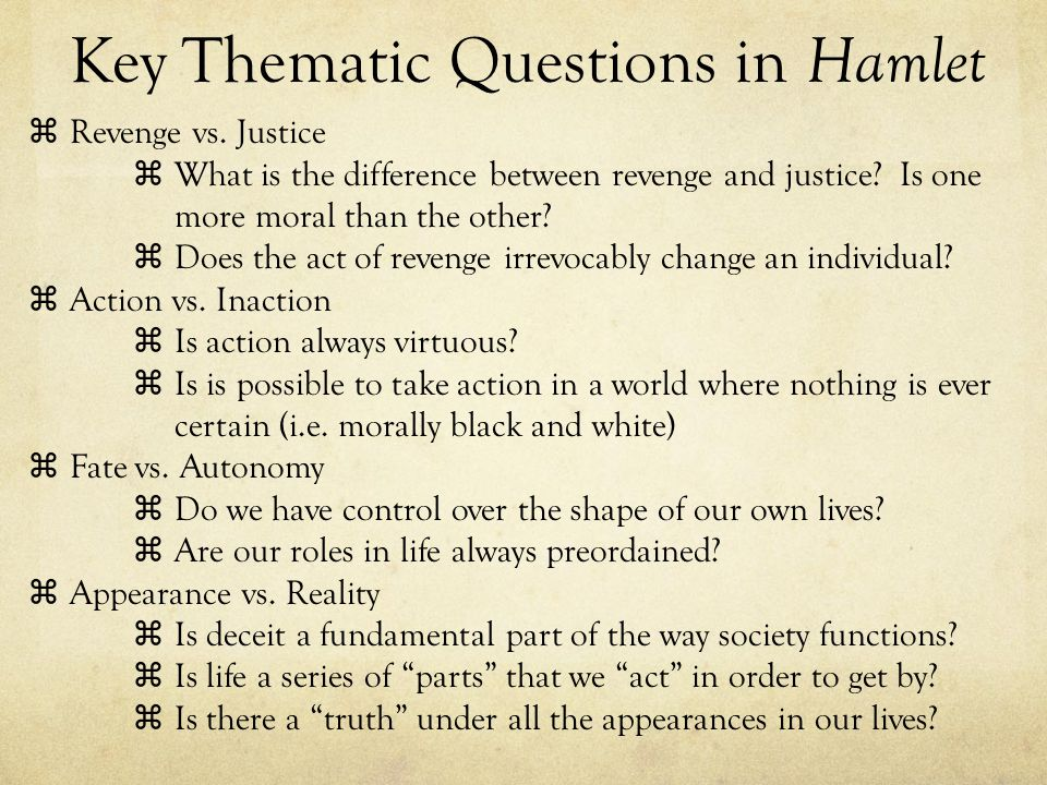 Key Thematic Questions in Hamlet