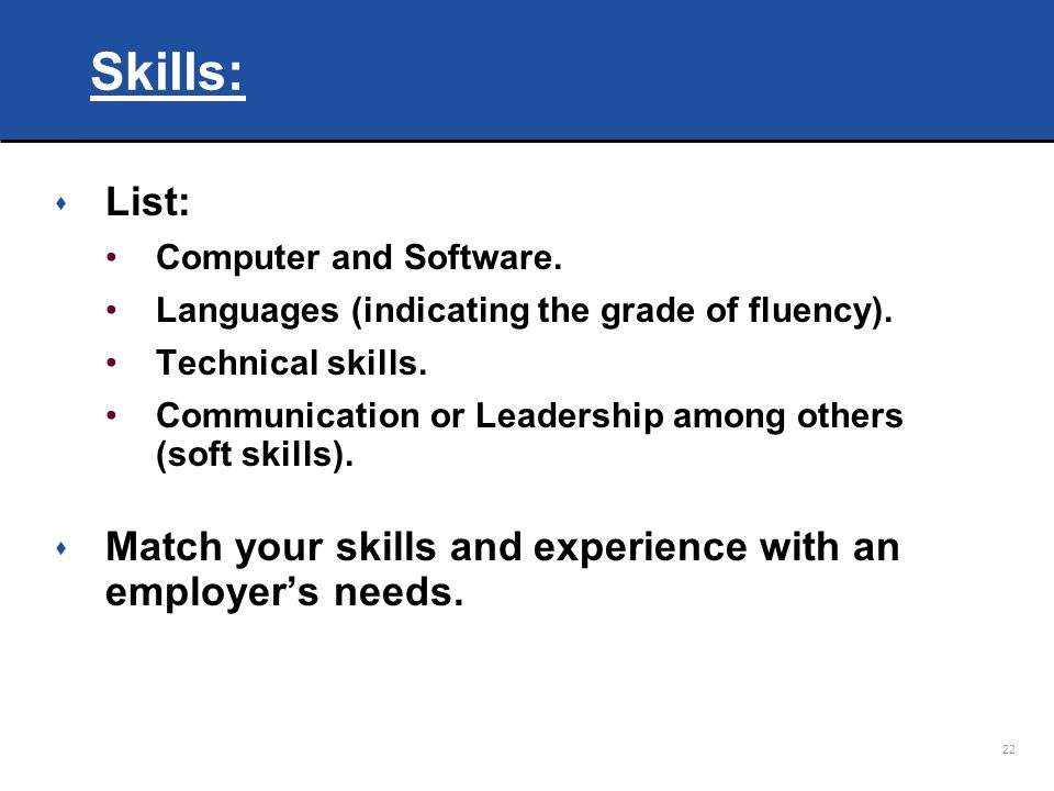 Skills: List: Computer and Software. Languages (indicating the grade of fluency). Technical skills.