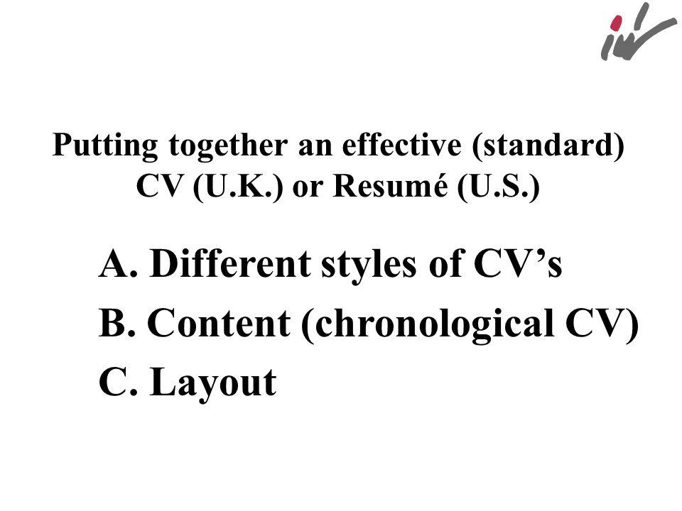 Putting together an effective (standard) CV (U.K.) or Resumé (U.S.)
