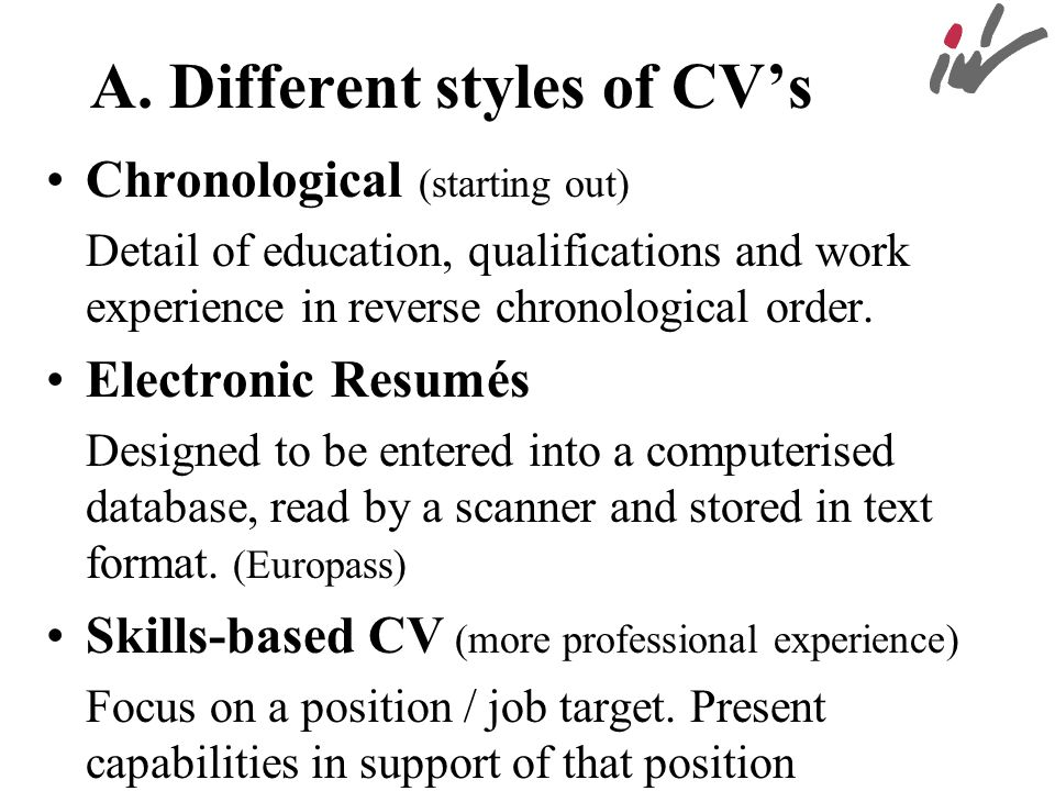 A. Different styles of CV's