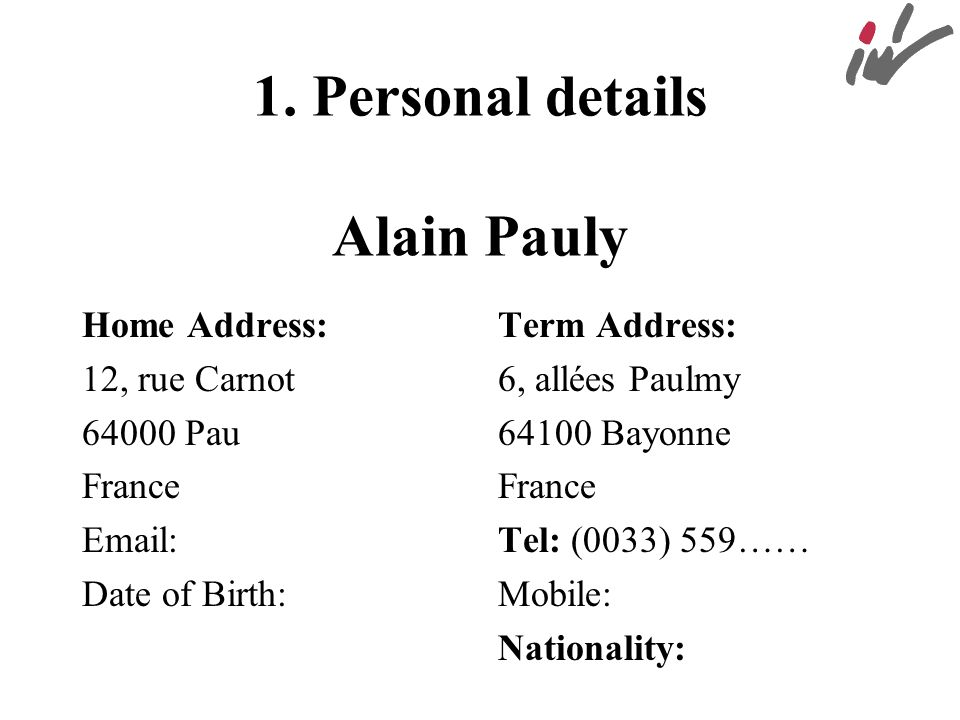 1. Personal details Alain Pauly