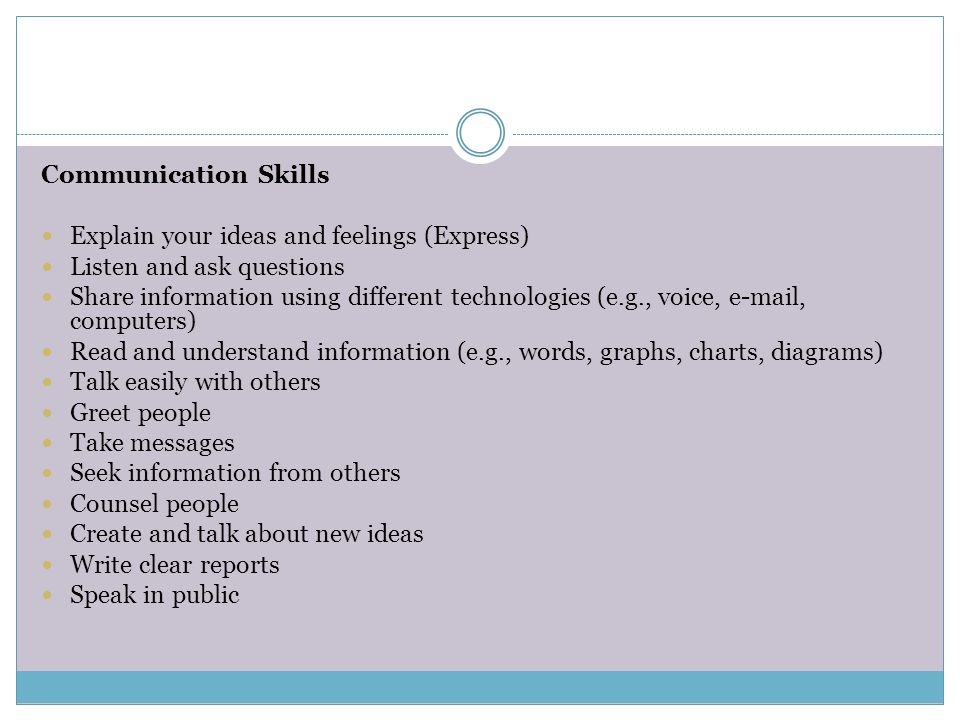 Communication Skills Explain your ideas and feelings (Express) Listen and ask questions.