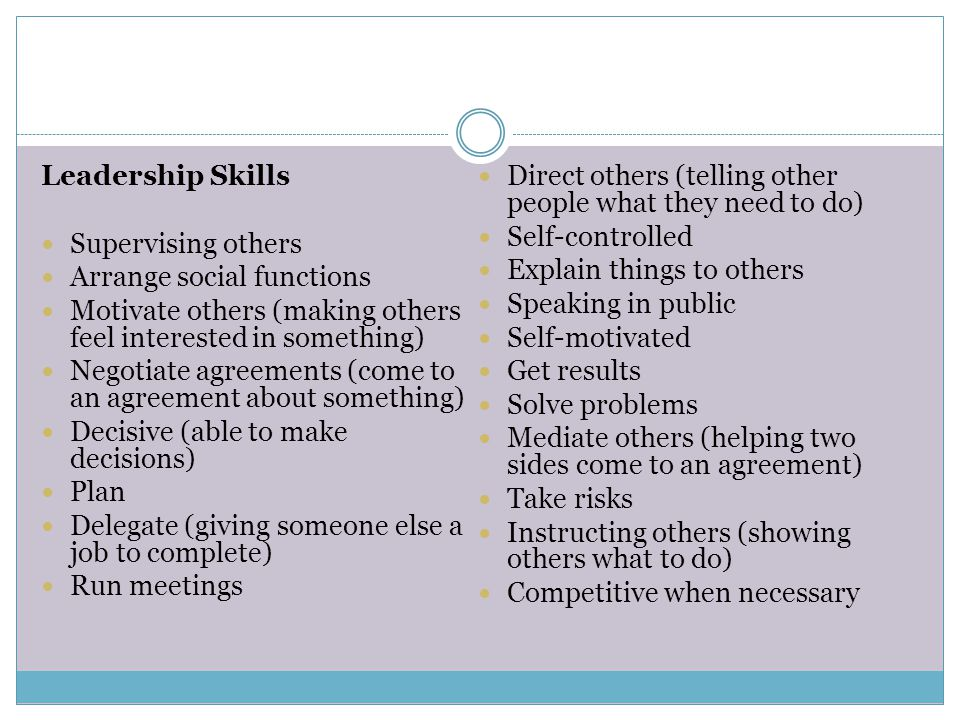 Leadership Skills Direct others (telling other people what they need to do) Self-controlled. Supervising others.