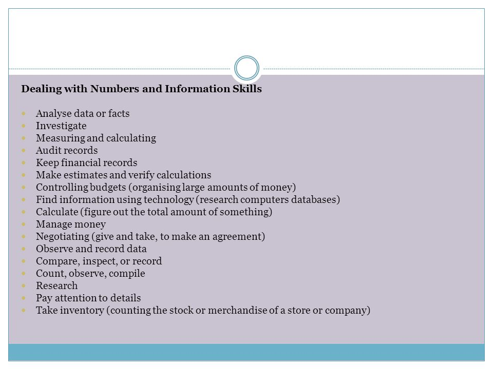 Dealing with Numbers and Information Skills