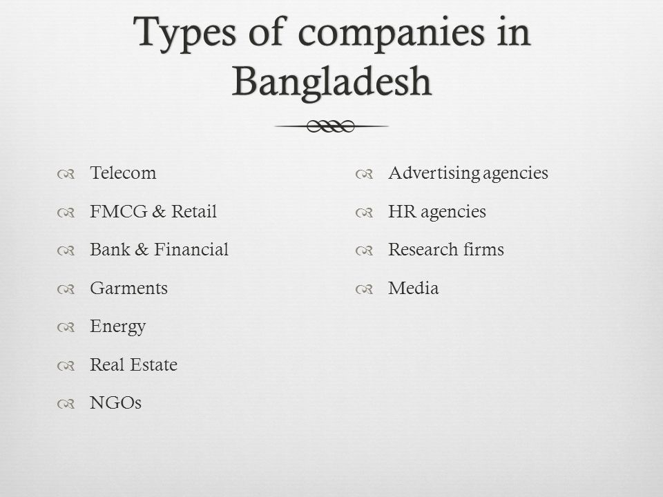 Types of companies in Bangladesh