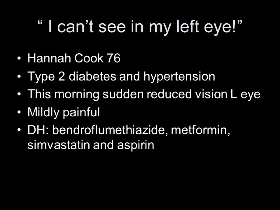 I can't see in my left eye!
