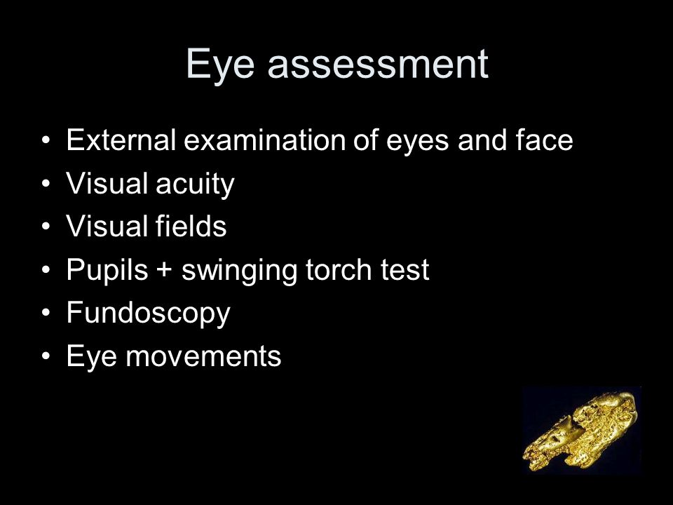 Eye assessment External examination of eyes and face Visual acuity