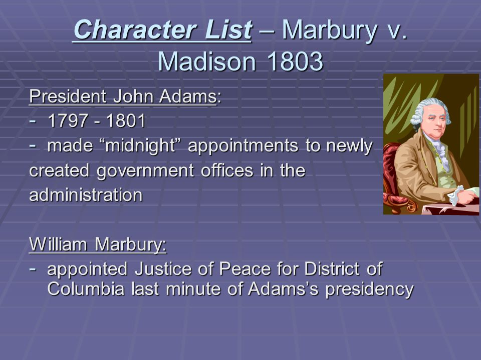 Character List – Marbury v. Madison 1803