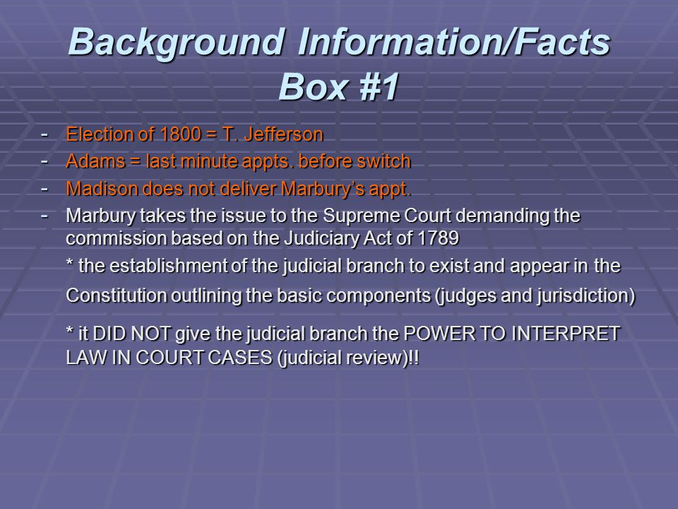 Background Information/Facts Box #1