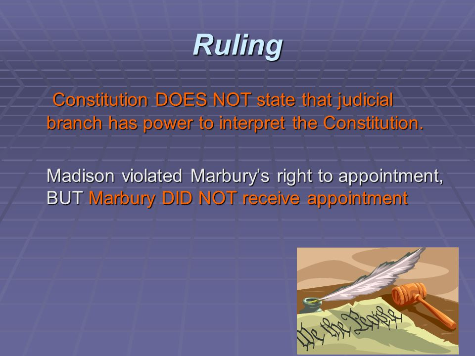 Ruling Constitution DOES NOT state that judicial branch has power to interpret the Constitution.