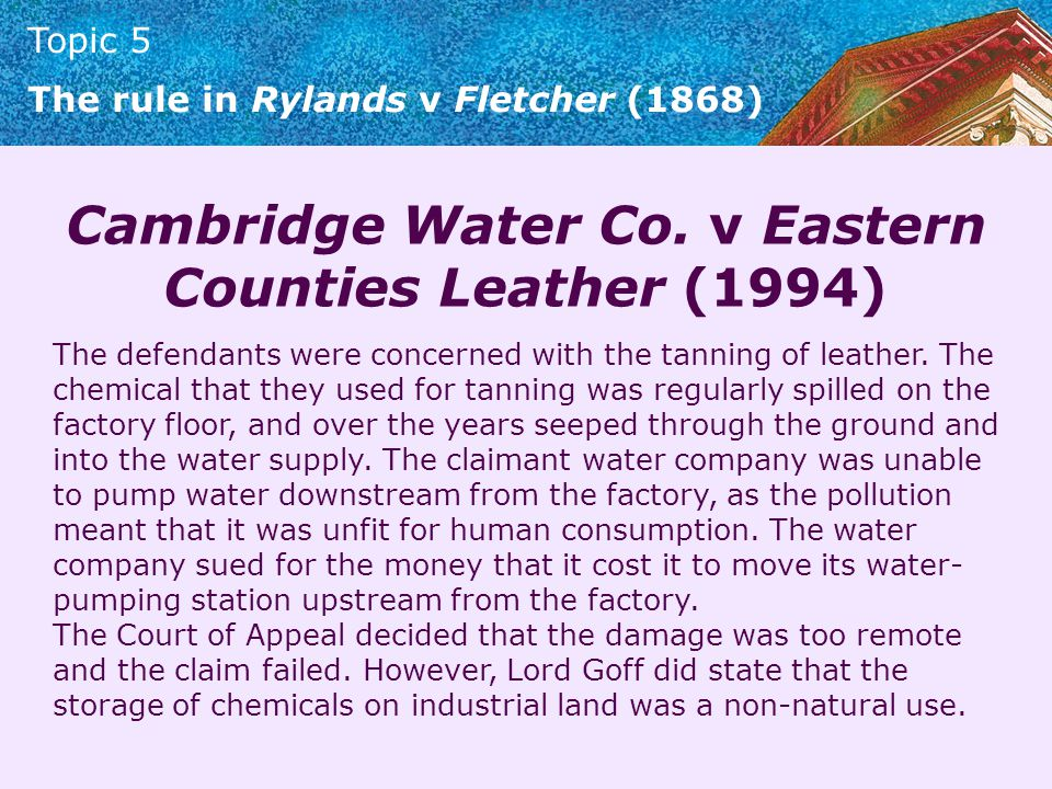 Cambridge Water Co. v Eastern Counties Leather (1994)