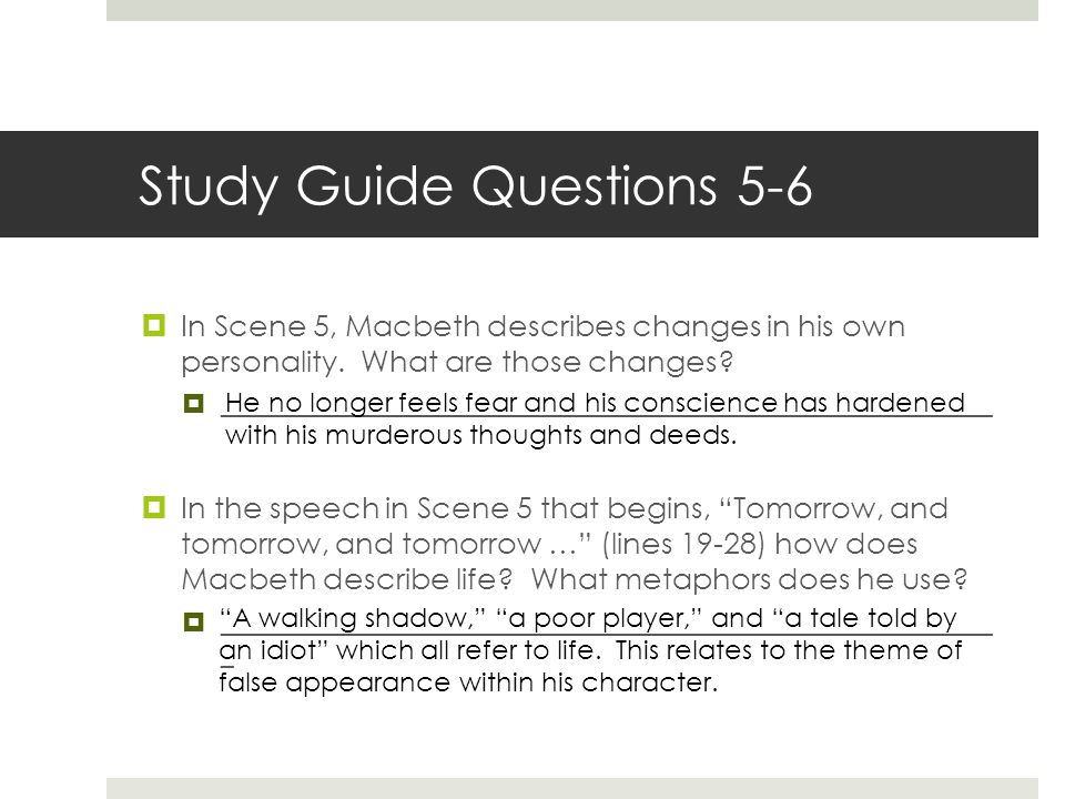 macbeth discussion questions Act i macbeth study questions in the first three scenes of act one, rather than meeting macbeth immediately, we are presented with others' reactions to him scene one begins with the witches, accepted.