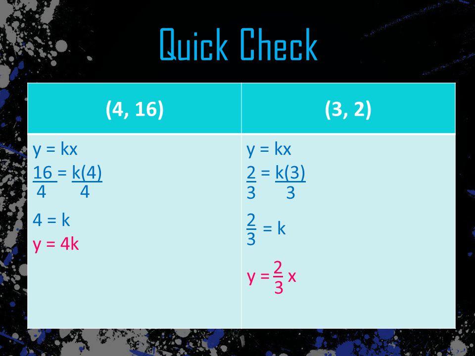 Quick Check (4, 16) (3, 2) (4, 16) (3, 2) y = kx 16 = k(4) 4 = k