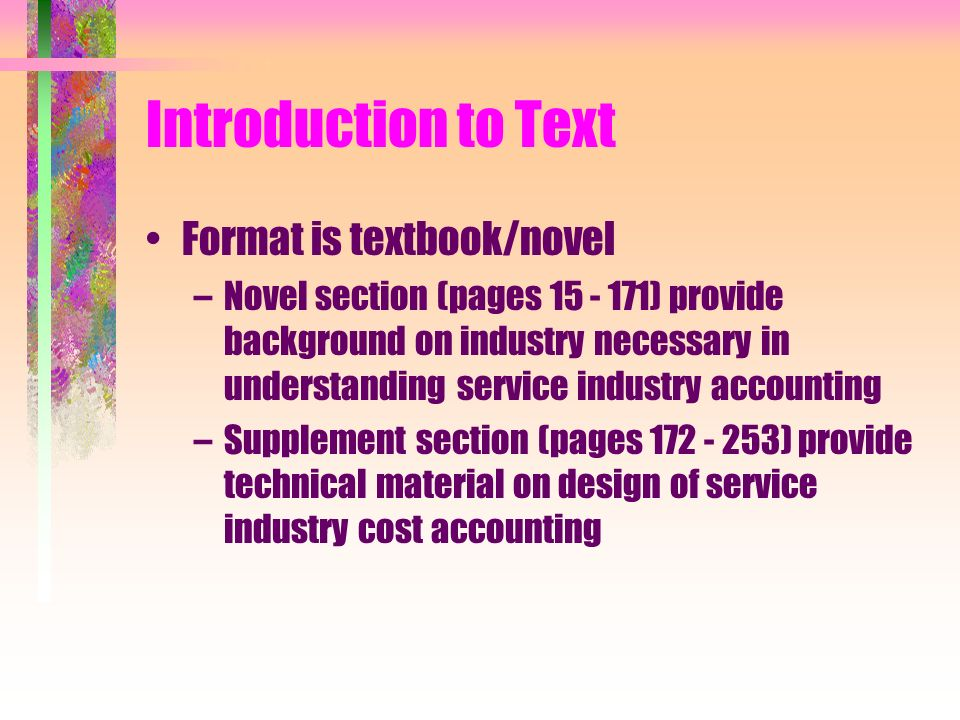 Introduction to Text Format is textbook/novel
