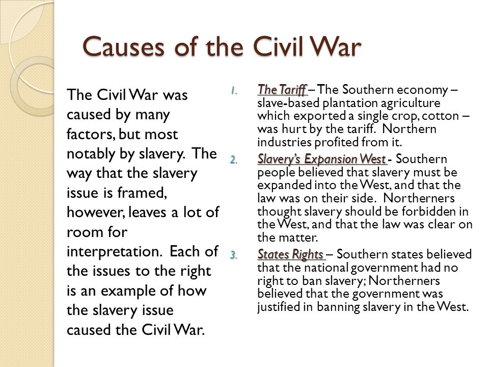 """factors of the civil war The south was already reeling from its loss of resources due to the union blockade, so the razing of southern towns and manufacturing centers by sherman left the south with no available means with which to fight the war this lack of capital was one of the factors that led to the southern surrender and loss of the civil war's """"war of attrition."""