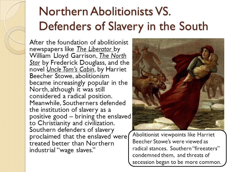 Northern Abolitionists VS. Defenders of Slavery in the South