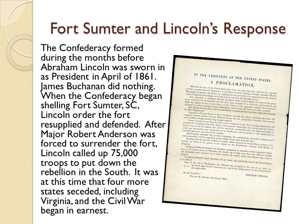 Fort Sumter and Lincoln's Response