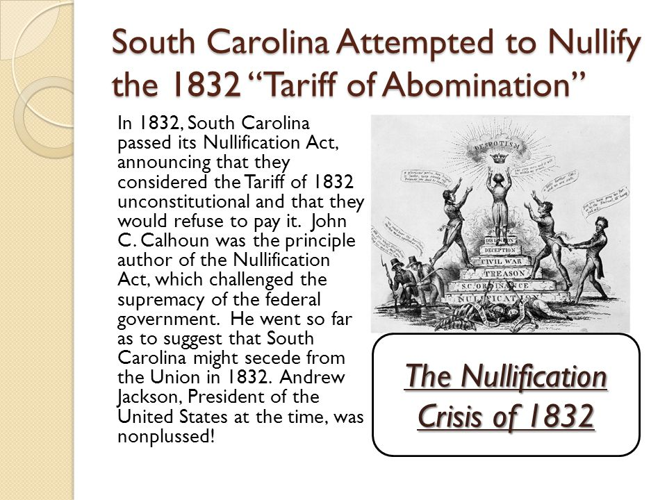 South Carolina Attempted to Nullify the 1832 Tariff of Abomination