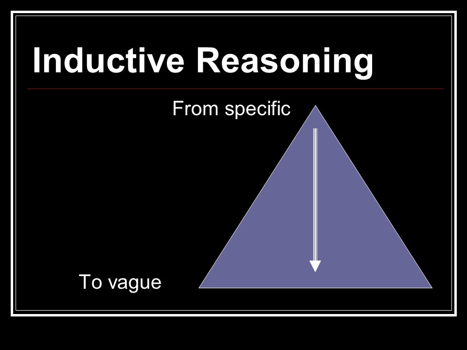 Inductive Reasoning From specific To vague