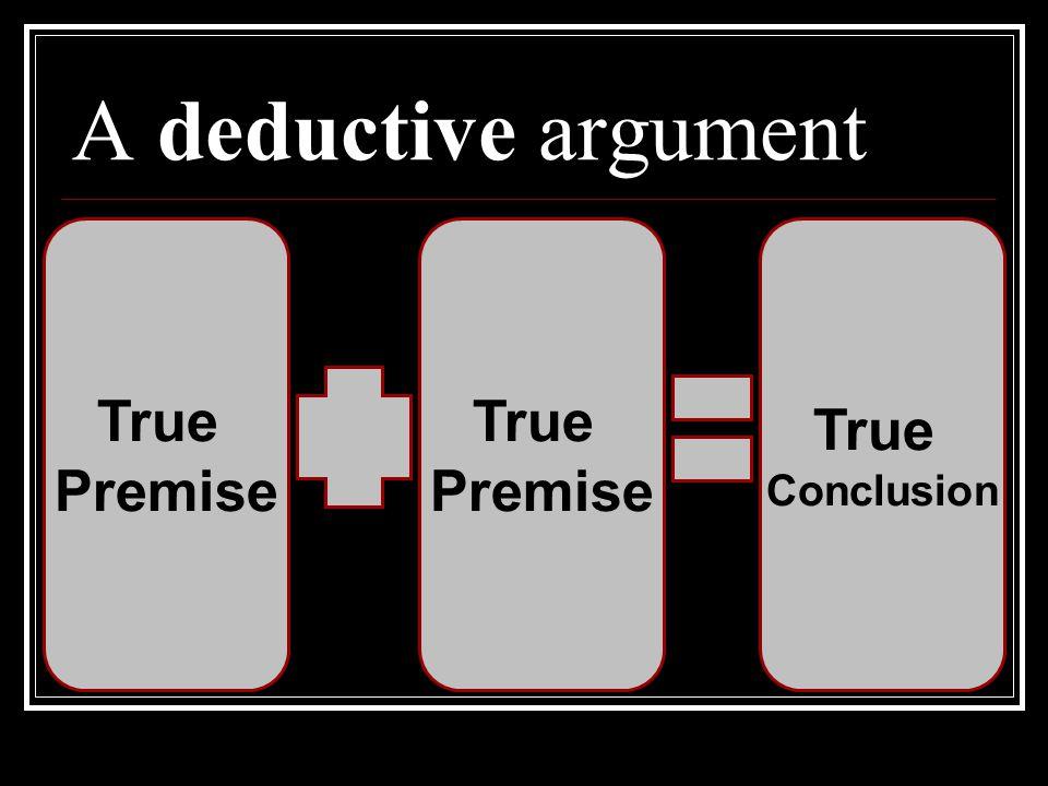 A deductive argument True Premise Conclusion