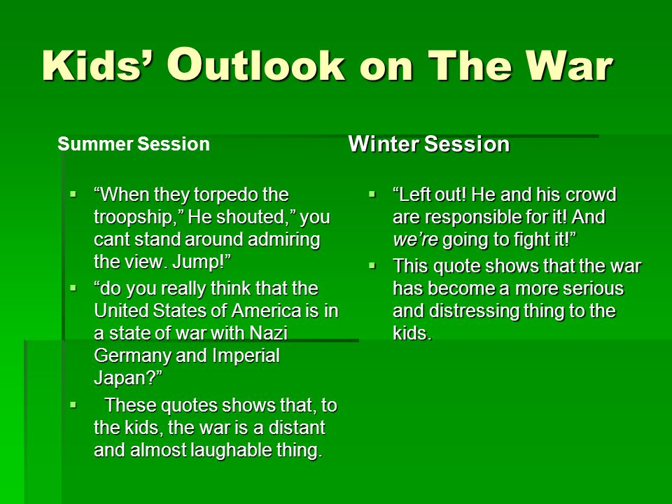 Kids' Outlook on The War