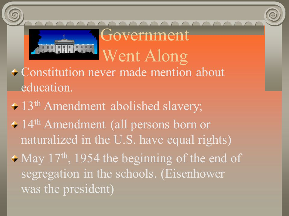 Government Went Along Constitution never made mention about education.