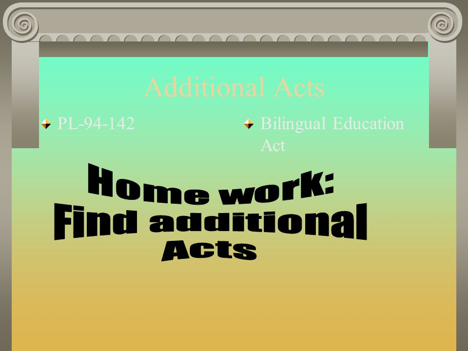 Additional Acts Home work: Find additional Acts PL-94-142