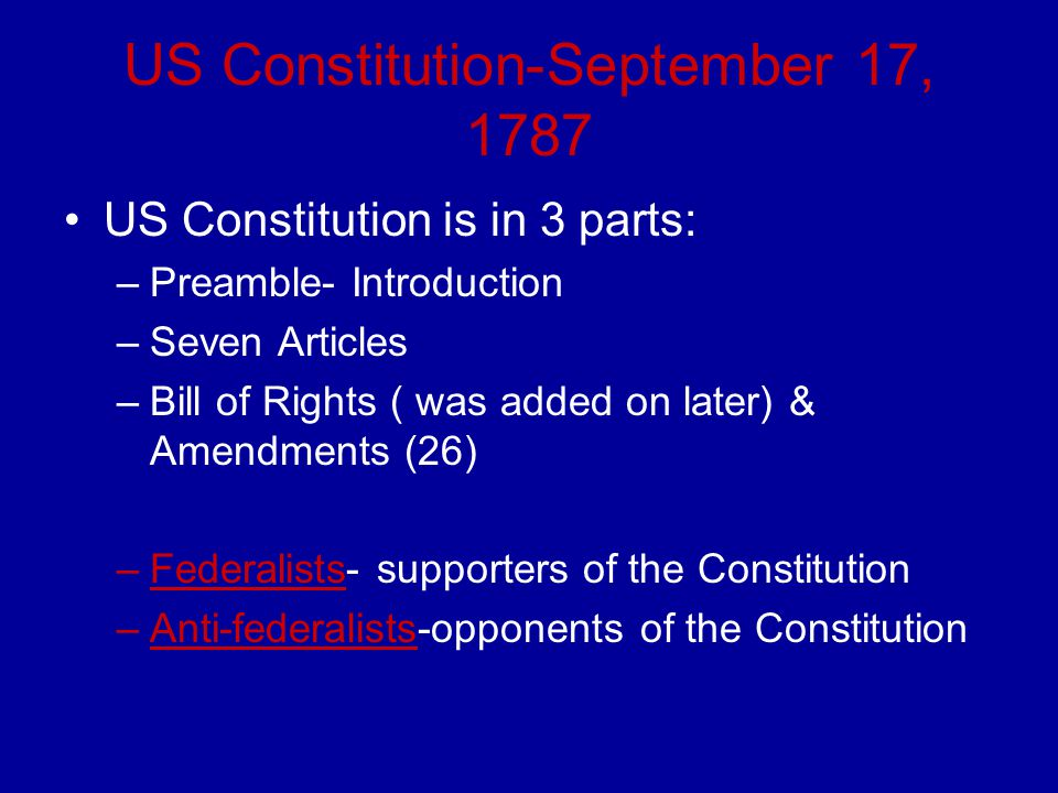 US Constitution-September 17, 1787