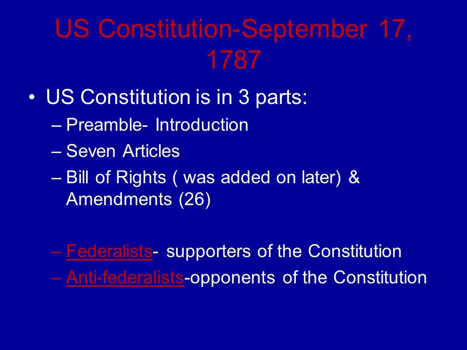 US Constitution-September 17, 1787