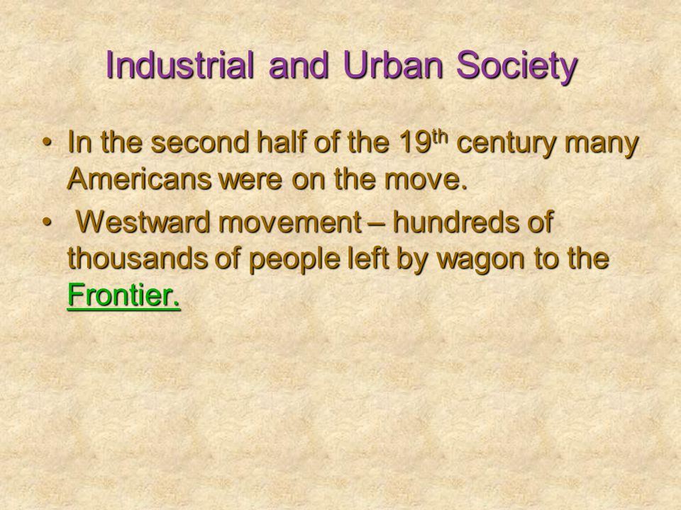 Industrial and Urban Society