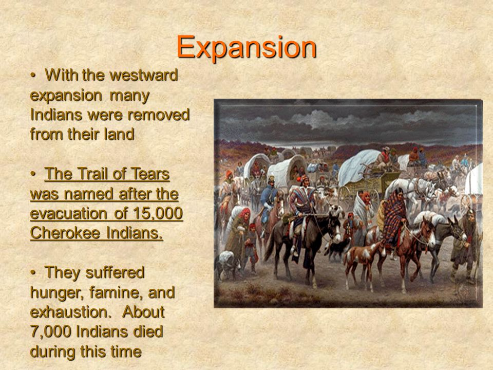 Expansion With the westward expansion many Indians were removed from their land.