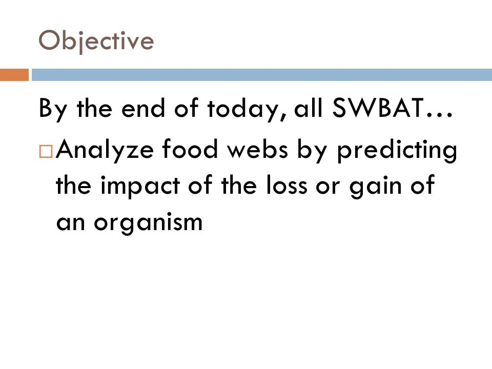 Objective By the end of today, all SWBAT… Analyze food webs by predicting the impact of the loss or gain of an organism.