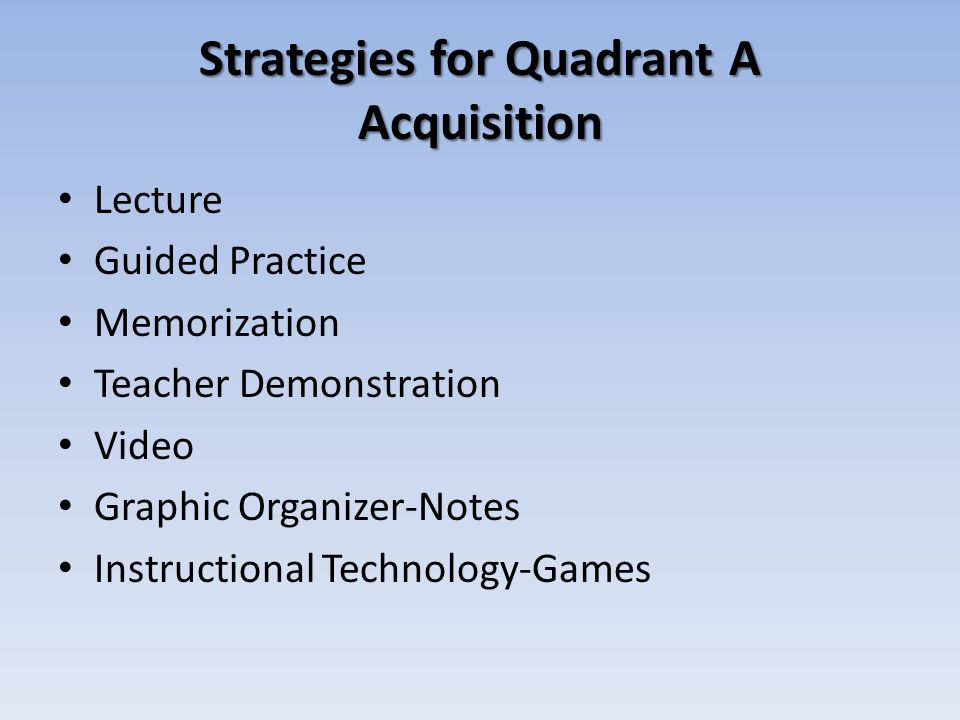Strategies for Quadrant A Acquisition