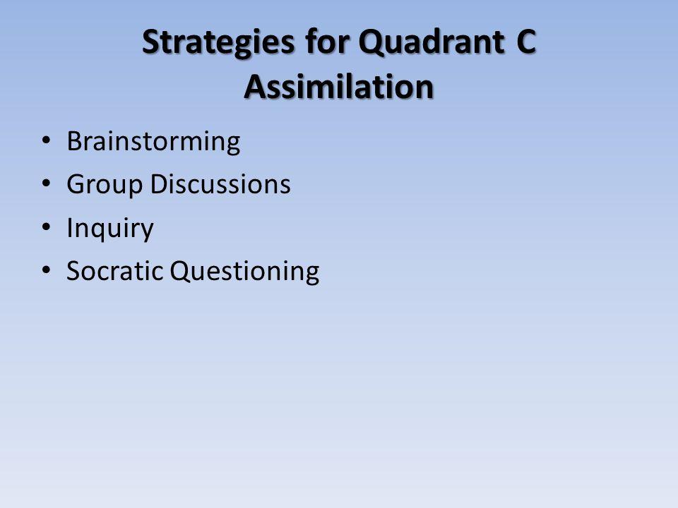 Strategies for Quadrant C Assimilation