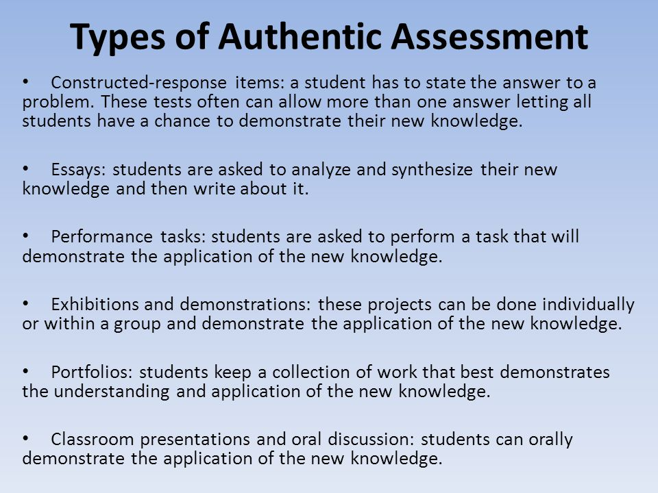 Types of Authentic Assessment