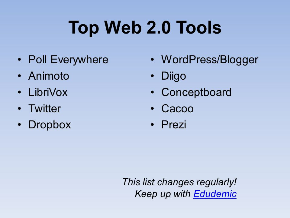 Top Web 2.0 Tools Poll Everywhere Animoto LibriVox Twitter Dropbox