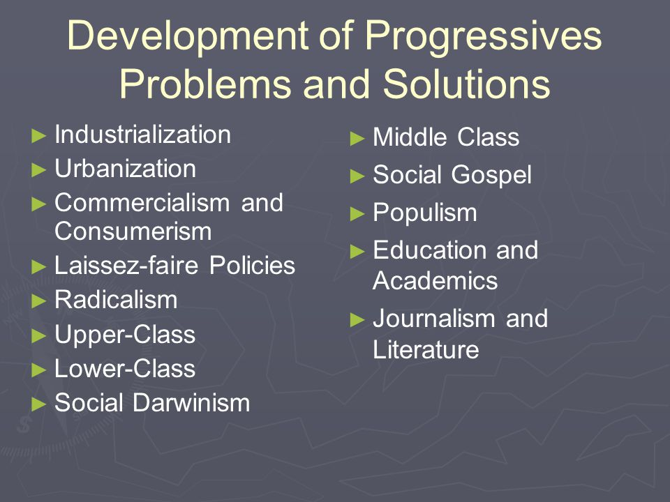 Development of Progressives Problems and Solutions