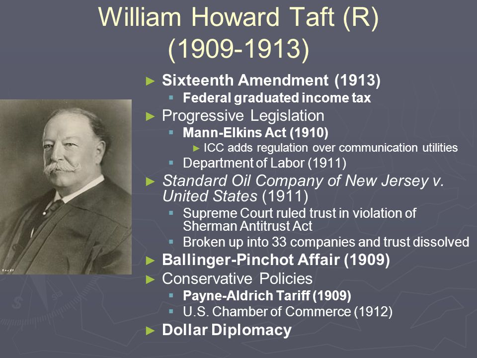 William Howard Taft (R) (1909-1913)