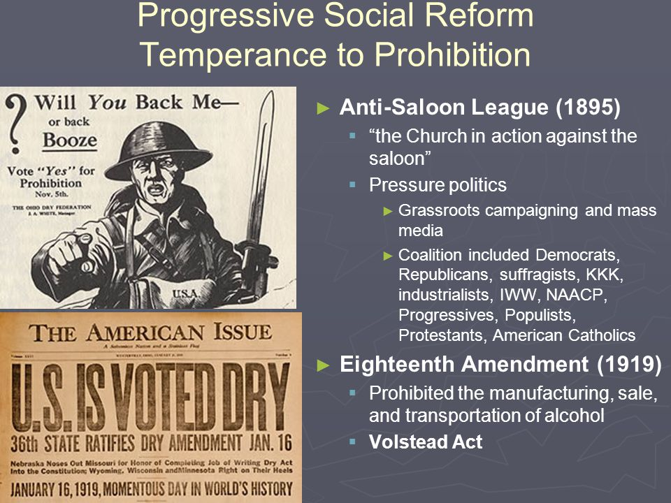 Progressive Social Reform Temperance to Prohibition