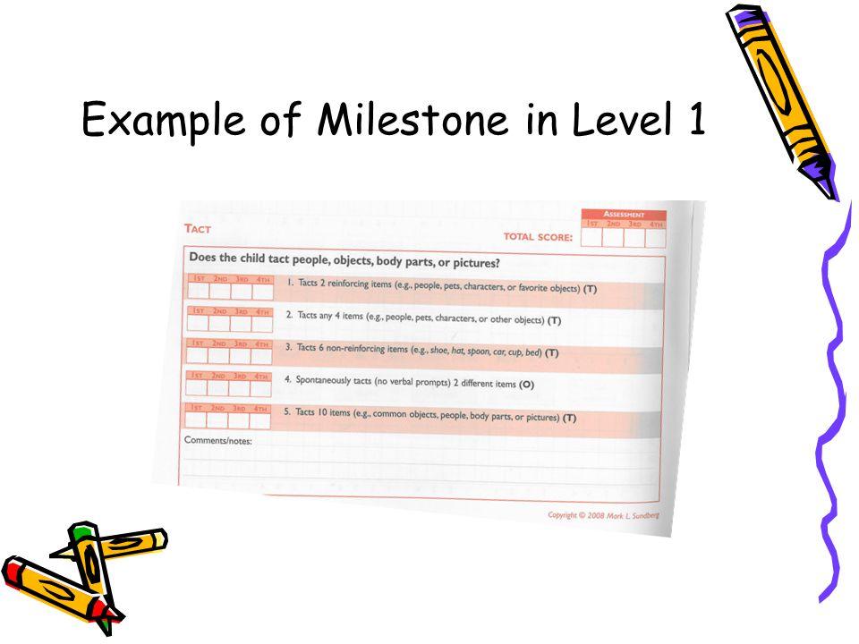 Example of Milestone in Level 1