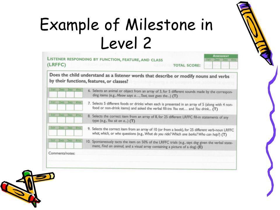 Example of Milestone in Level 2