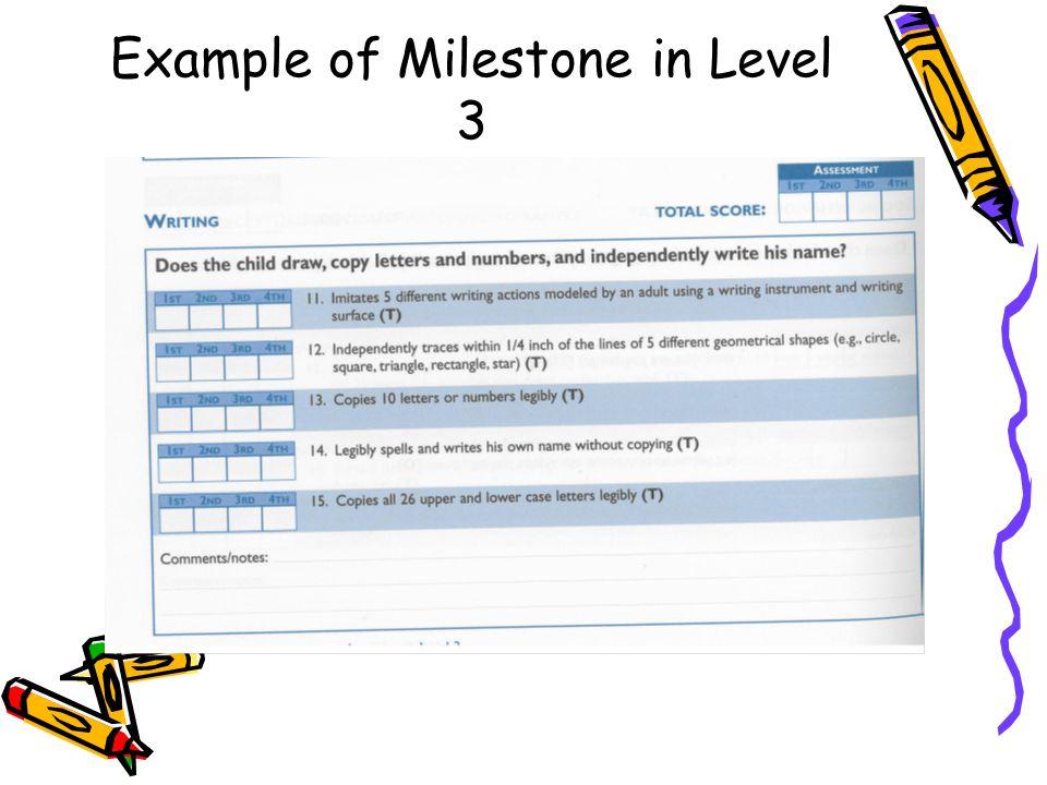 Example of Milestone in Level 3