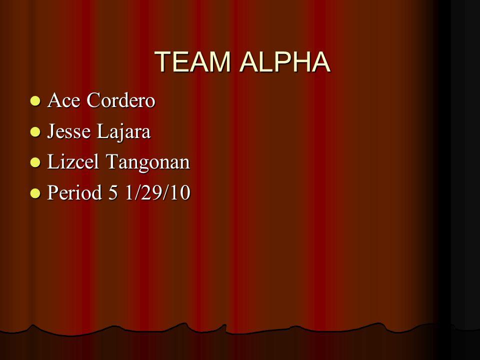 TEAM ALPHA Ace Cordero Jesse Lajara Lizcel Tangonan Period 5 1/29/10