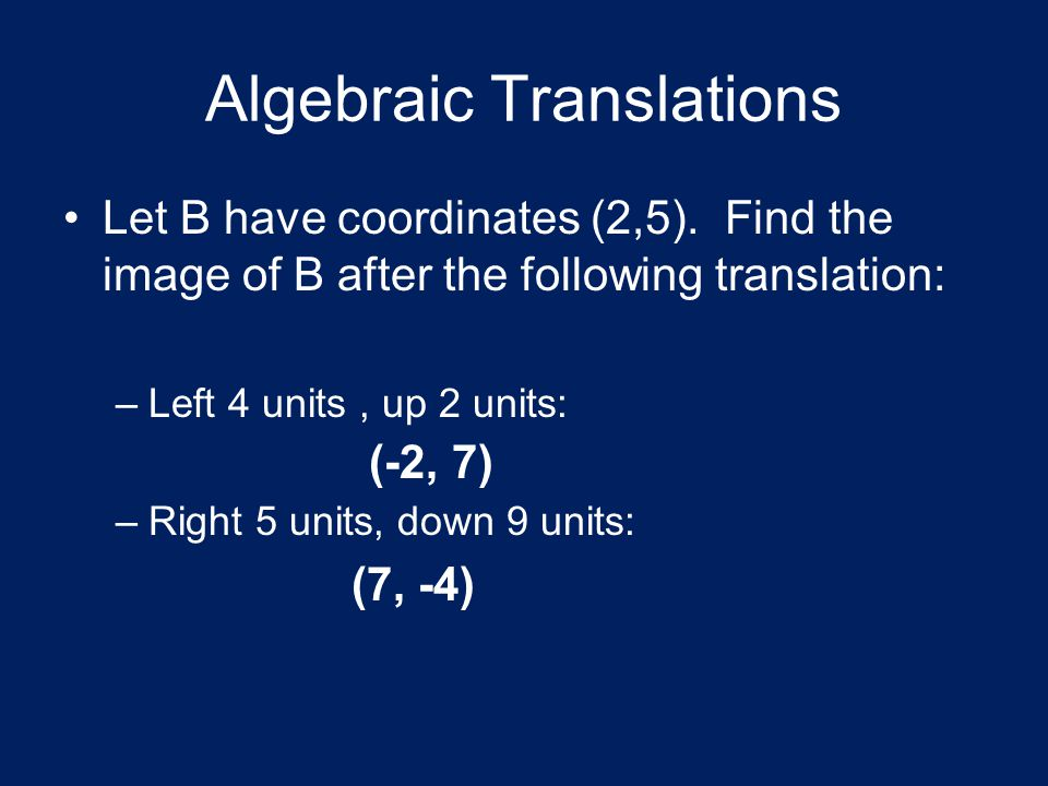 Algebraic Translations