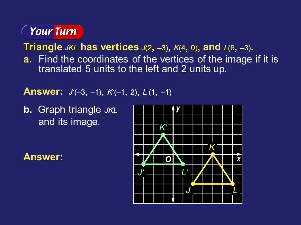 Triangle JKL has vertices J(2, –3), K(4, 0), and L(6, –3).