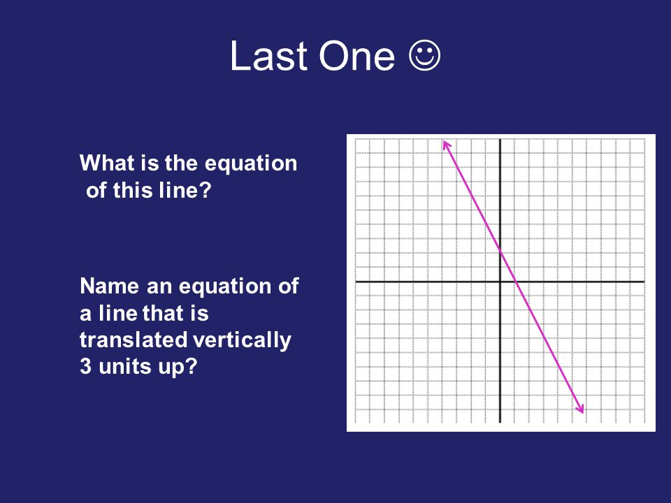 Last One  What is the equation of this line Name an equation of