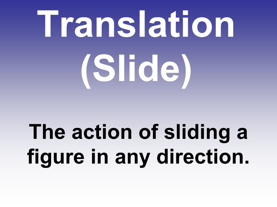 The action of sliding a figure in any direction.