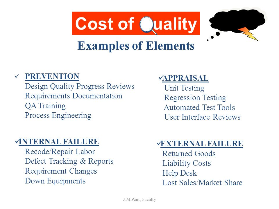 Cost of uality Examples of Elements