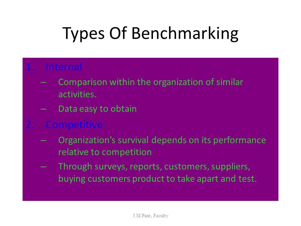 Types Of Benchmarking Internal Competitive