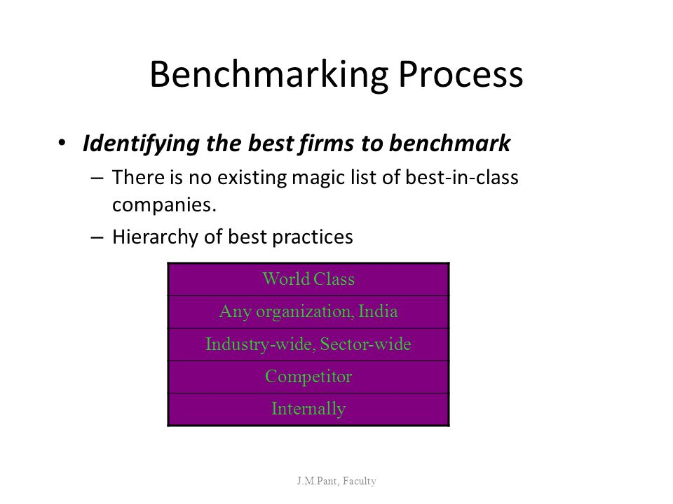 Benchmarking Process Identifying the best firms to benchmark